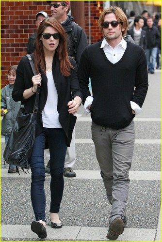 Jackson Rathbone wallpaper containing a business suit, a well dressed person, and a street called Ashley Greene and Jackson Rathbone in Vancouver(April 20)