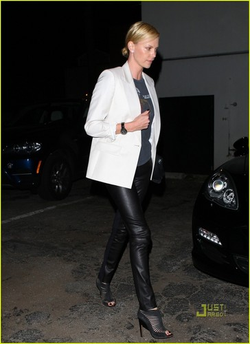 Charlize Theron: Leather Pants at Colony Nightclub!