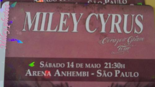 Corazon Gitano Tour (Gypsy Heart) Ticket for mostrar of Miley on Brazil