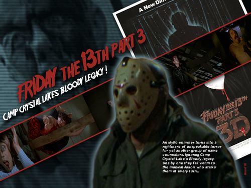 Friday the 13th wallpaper containing a sign and anime called Friday the 13th Part 3