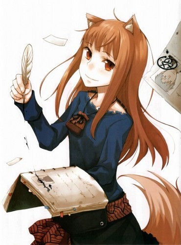 Spice and wolf Hintergrund probably with a newspaper, a sign, and a portrait titled Holo can write.......