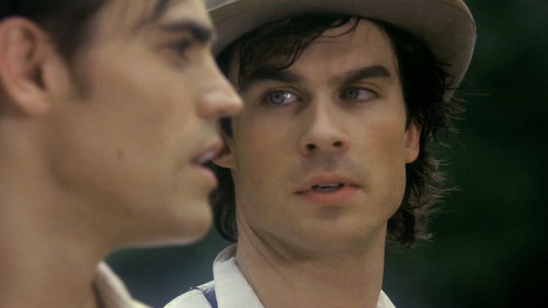 Damon Salvatore wallpaper containing a fedora, a boater, and a snap brim hat titled salv(damon)atore