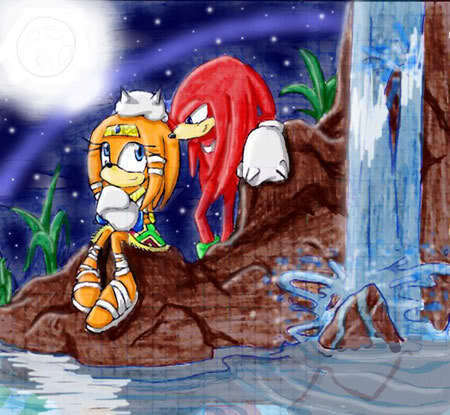 Knuckles the Echidna wallpaper probably containing anime entitled waterfall
