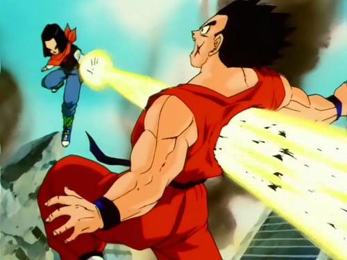 Android 17 blasting the hell out of Yamcha