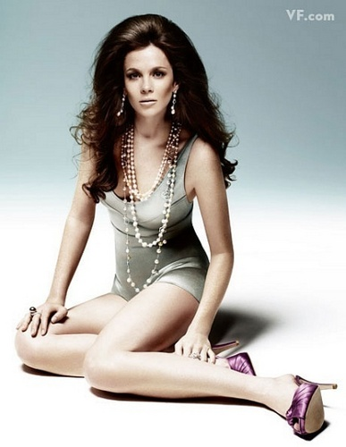Vanity Fair wallpaper probably containing a swimsuit and a maillot called Anna Friel: Pearls on Film
