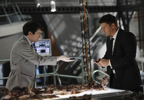 Seeley Booth achtergrond possibly with a barbecue and a business suit called Bones 6x22 Promotional foto's