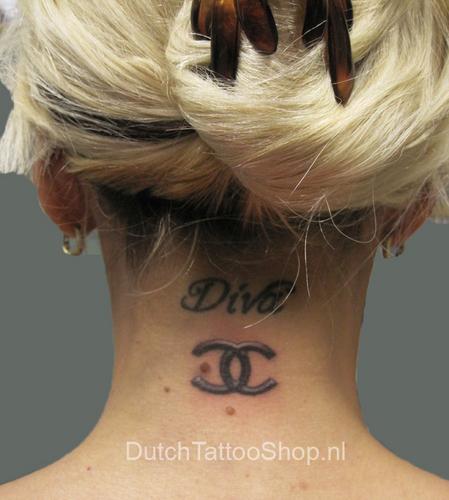 Chanel Logo Neck Tattoo by Dutch Tattoo Магазин