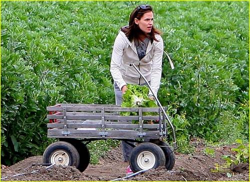 Jennifer Garner: Vegetable Picking with фиолетовый & Seraphina!