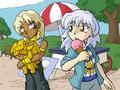 Marik and Ryou Bakura at the park