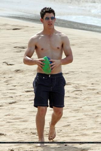 Nick e Joe em Praia no Havaí