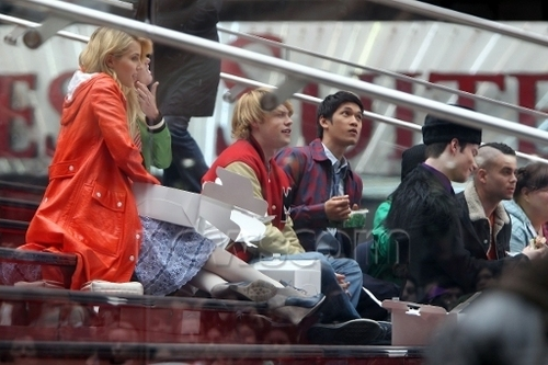 On set of Glee, in New York | April 25, 2011.