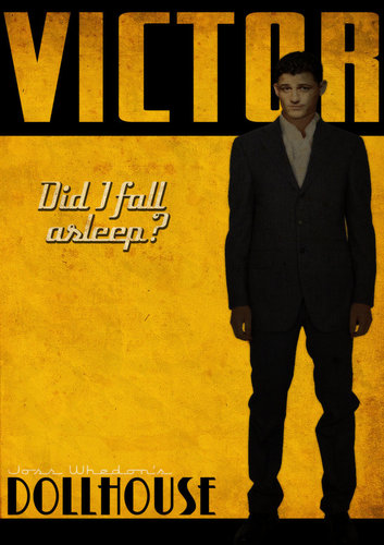 Dollhouse wallpaper with a business suit, a suit, and anime called Victor Retro Poster