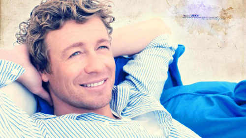 Simon Baker karatasi la kupamba ukuta probably containing a neonate and a portrait entitled Simon Baker