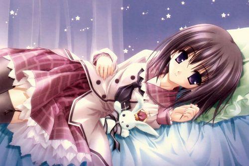 cute anime girl with a cute rabbit