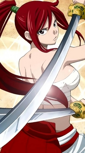 Erza Scarlet wallpaper possibly with a cavalry sword, a khukuri, and a cimitarra, falchion titled erza!!