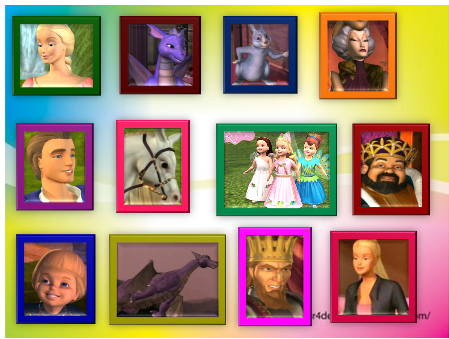 Barbie Movies rapunzel characters in wall frames by coolgirl15