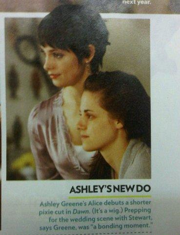 Alice's (@AshleyMGreene) new hairdo in BD! First pic of Alice from the movie!