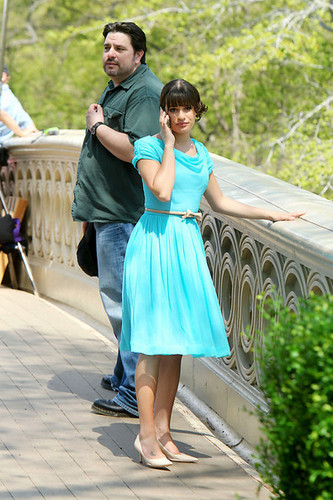 Cory Monteith and Lea Michele on Set