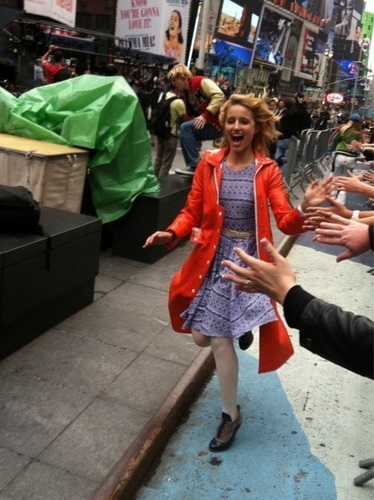Dianna in NYC {on set of glee}