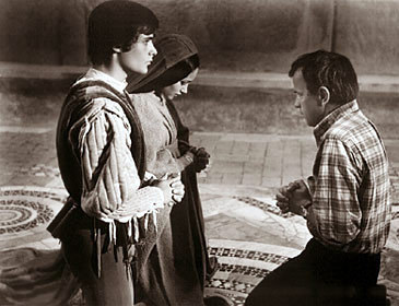 """Franco Zeffirelli gives instruction to the Stars of the show, """"Romeo & Juliet"""""""