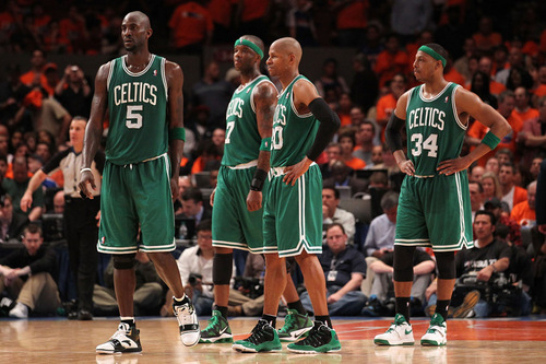 Boston Celtics پیپر وال containing a باسکٹ, باسکٹ بال player, a dribbler, and a باسکٹ, باسکٹ بال called G4 win vs New York. playoffs; 1st round 2011