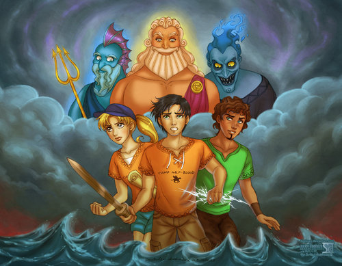 Percy Jackson & The Olympians 本 壁紙 possibly with アニメ called Gods from Hercules and demigods from Camp Half-Blood