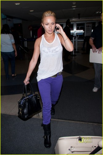 Hayden Panettiere: Purple Pants at LAX!