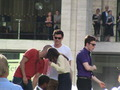 Lea &amp; Mark on set in NYC - rachel-and-puck photo