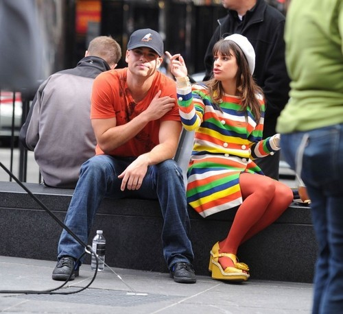 Lea on set in NYC