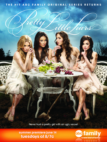 Aria Montgomery वॉलपेपर probably containing a bridesmaid, a bouquet, and a sign titled New PLL Poster Season 2