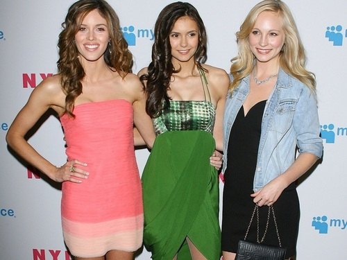 Nina Dobrev with Candice Accola and Kayla Ewell