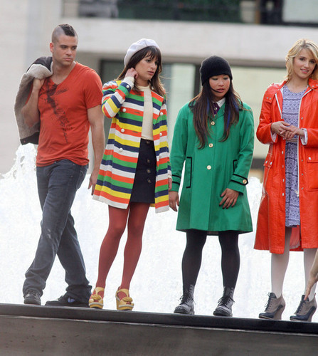 On set of Glee, at the لنکن Center Foutain | April 27, 2011.