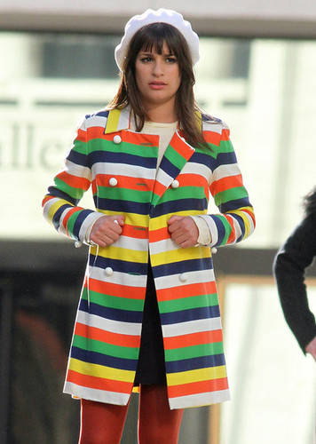 On set of Glee, at the lincoln Center Foutain | April 27, 2011.