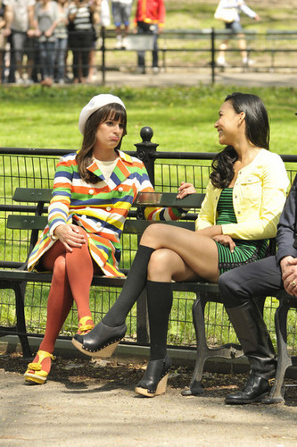 On set of Glee, in Central Park | April 27, 2011.