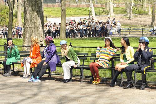 On set of Glee, in Central Park | April 27, 2011.