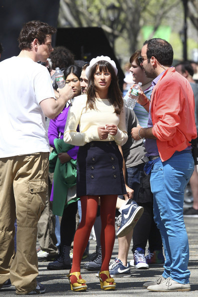 lea michele glee 2011. On set of Glee, in Central