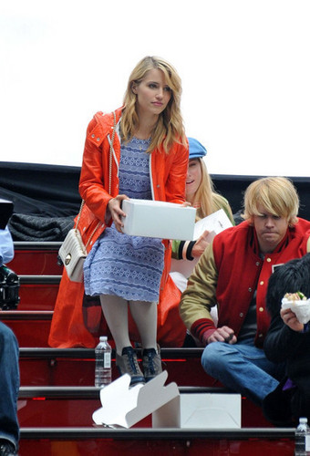On set of glee in NYC | April 25, 2011.