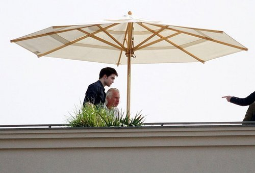 Robert pattinson on roof hotel in berlin