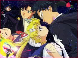 Sailor Moon wallpaper containing anime entitled Romantic picture of tuxedo and moon