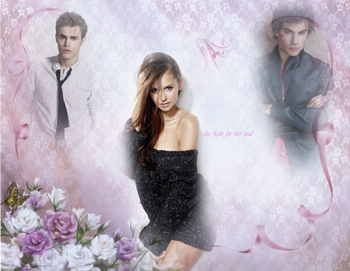 the vampire diaries wallpaper containing a bridesmaid titled The Vampire Diaries-Damon,Elena,Stefan