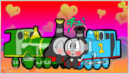 Thomas And Friends wallpaper with anime titled Thomas and Emily Kiss