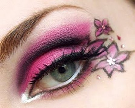 Trendy, excentric tattoo eye makeup