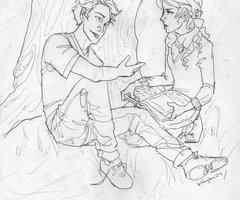Annabeth studing with Percy