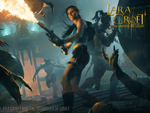 Tomb Raider Hintergrund possibly with a fire, a fire, and Anime entitled Lara Croft and the Guardian of Light