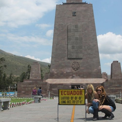Miley - Visiting the Equator in Ecuador (29th April 2011)