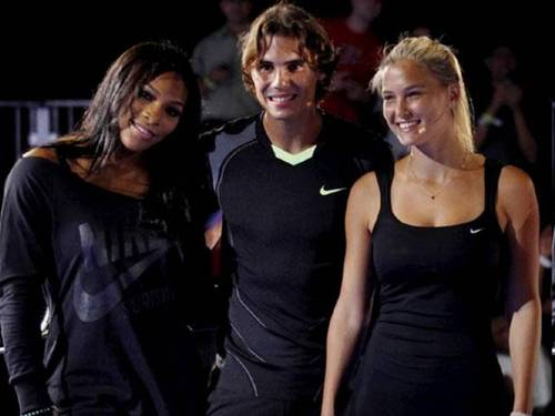 Rafael Nadal wallpaper possibly containing tights and a leotard titled Nadal and sexy girls!