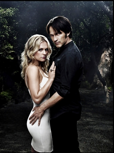 Bill and Sookie wallpaper possibly with a cocktail dress and a portrait entitled True Blood