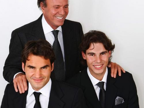 Rafael Nadal wallpaper with a business suit, a suit, and a double breasted suit titled iglesias nadal federer