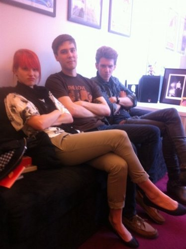 """Hanging out at the FBR office with Evan, Nick from A Rocket To The Moon and Hayley from Paramore."""