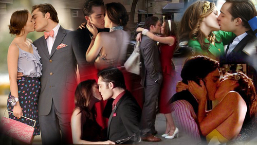 Blair & Chuck karatasi la kupamba ukuta with a bridesmaid and a business suit called chuck and blair kiss